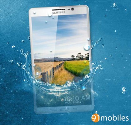 Samsung Galaxy S5-water splash-realistic
