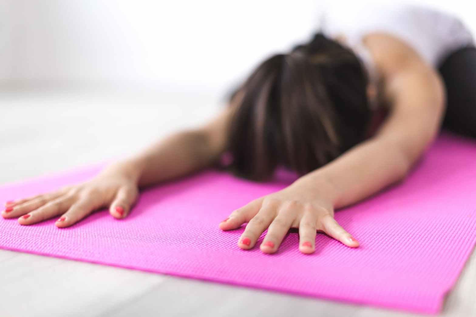 Girl doing deep yoga