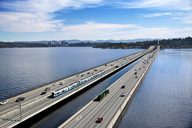 Seattle light rail construction underway on floating bridge