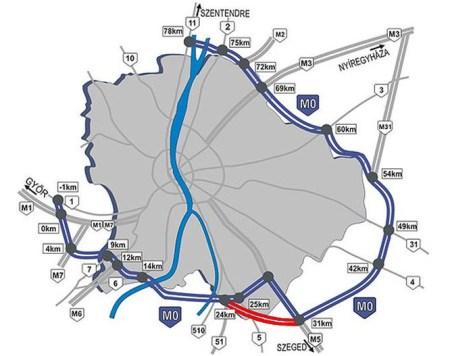 M0-ás autópálya körgyűrű Budapest körul (Forrás: BKK)