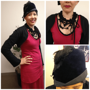 Day 31: Handsewn bolero, tunic, and skirt from a Natalie Chanin pattern. I also made the necklace from ropes of black knit fabric. Hat: vintage - I added an ostrich feather to the original Petersham trim.