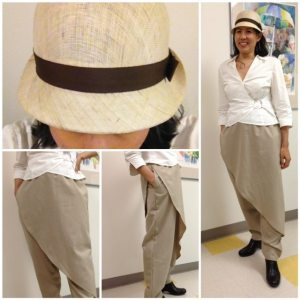 Day 31 - Linen blend pants from a Vogue pattern (these pants have an elastic waist and pockets). Hat: straw