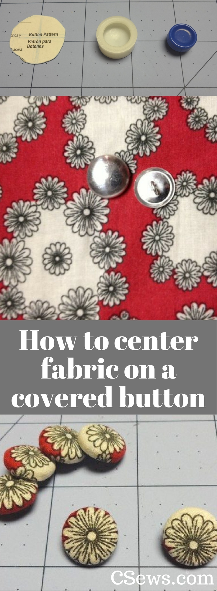 Tutorial - How to center fabric on a covered button, covered button kit