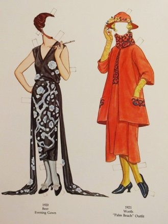 """Evening gown by Beer (1920) and """"Palm Beach"""" outfit by Worth (1921)"""
