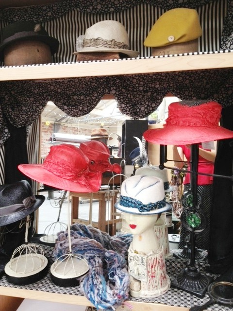 Hats on display at O'Lover Hats, designs by Elwyn Crawford