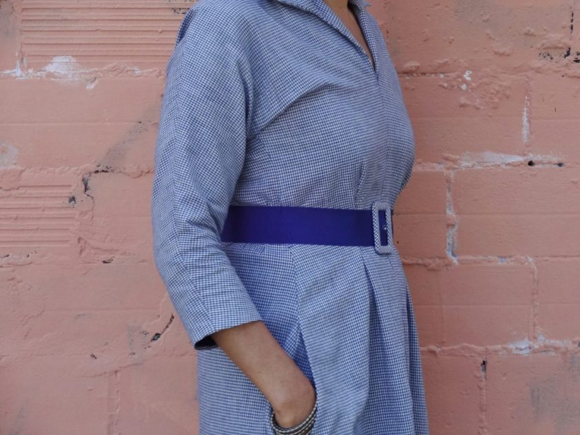 Winifred Dress - Bluegingerdoll Patterns - side view - close up - csews.com