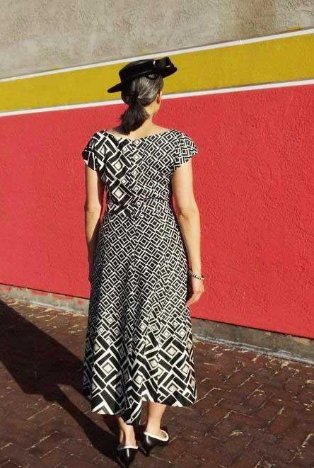 Anna Dress - back view border print fabric from Britex Fabrics- csews.com