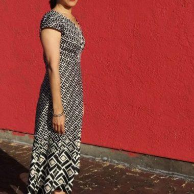 By Hand London Anna Dress - border print fabric