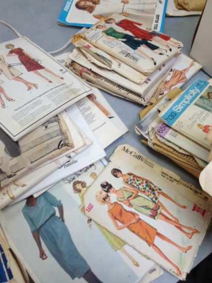 Box of vintage patterns donated