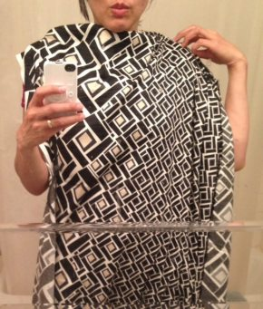 Using a border print fabric in a dress - deciding fabric placement