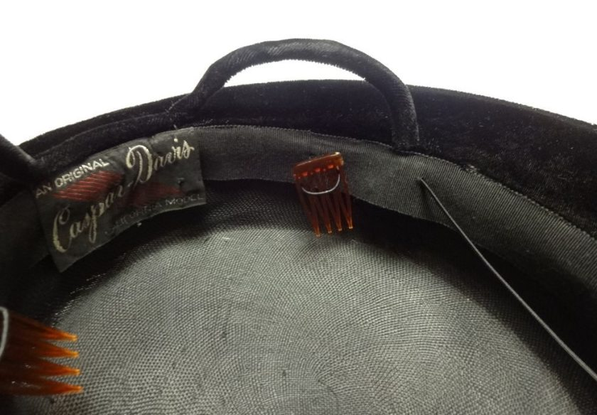 vintage black hat with combs - csews.com