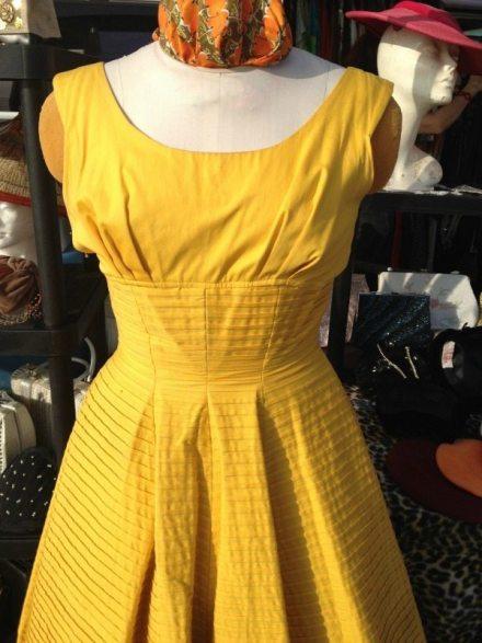 vintage yellow dress bodice - pin tucks - csews.com