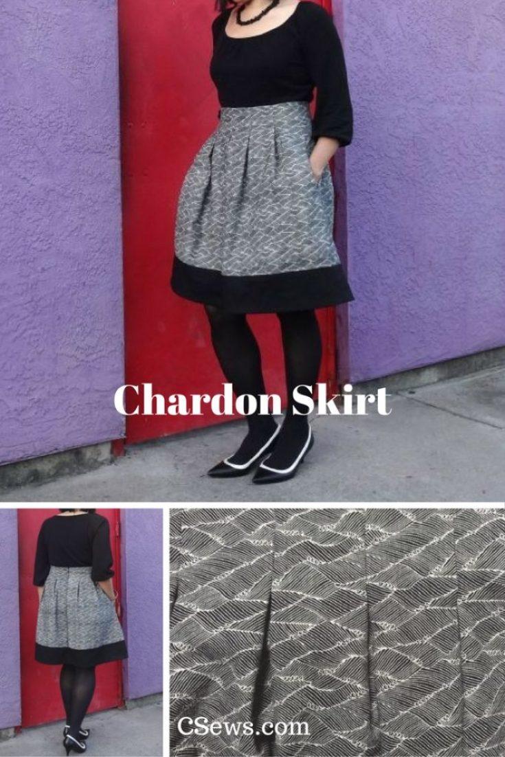 Deer and Doe Chardon Skirt - black and white - CSews.com