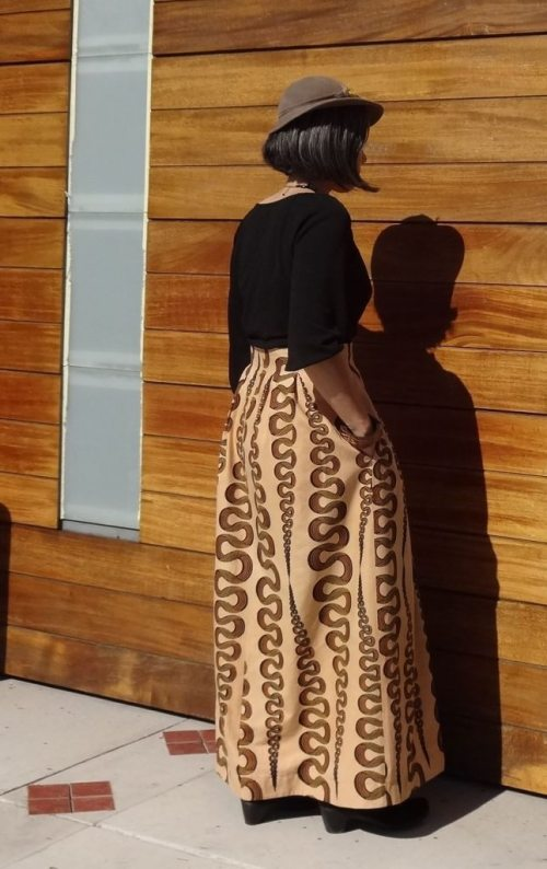Chardon maxi skirt - Deer and Doe pattern - back view - csews.com