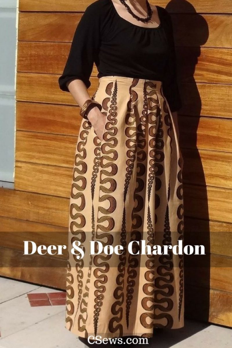 Deer and Doe Chardon skirt sewing pattern - lengthened to maxi version - African wax print fabric - CSews.com
