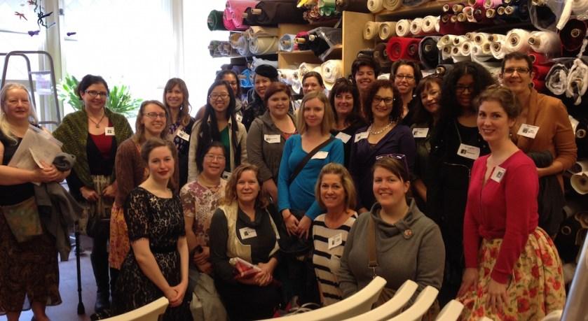 Group photo - Bay Area Sewists - lace meetup - Britex Fabrics - csews.com