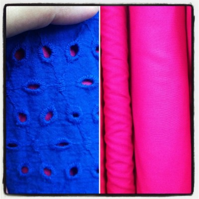 Eyelet fabric with fuschia - csews.com