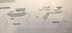 Draped Mini - diagram - neck binding - csews.com