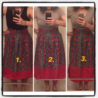 Red contrast band - Chardon skirt - csews.com