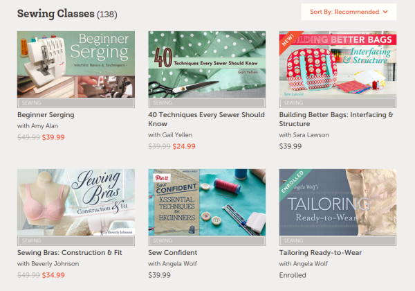 Screenshot Craftsy sewing classes - csews.com