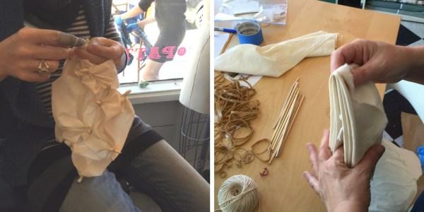 Shibori - indigo dyeing - folding and binding fabric - Bay Area Sewists - CSews.com