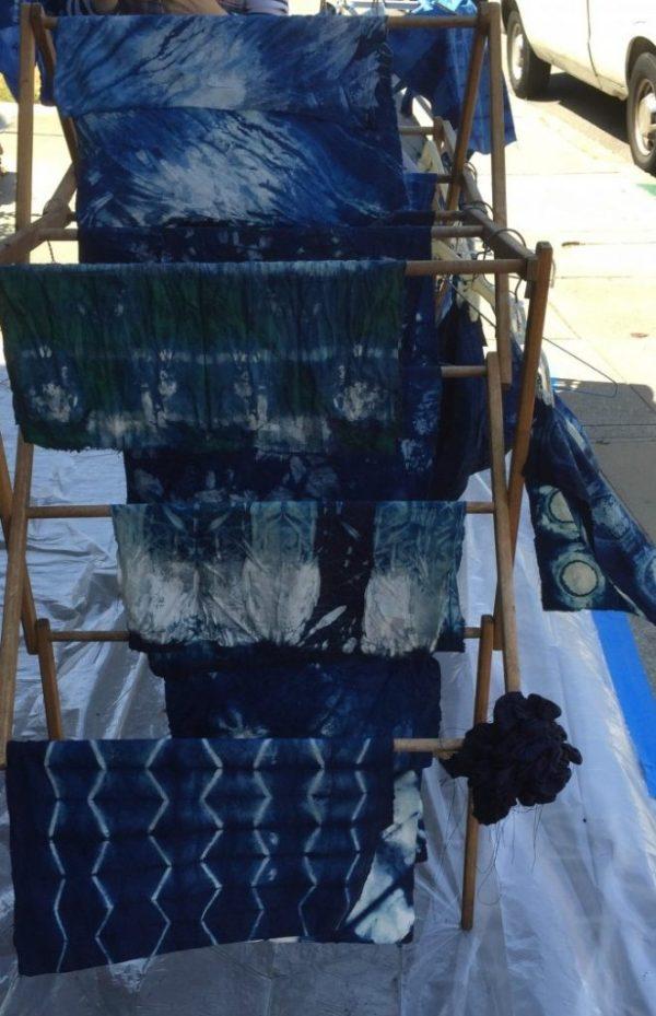 Shibori - Indigo dyed fabric - Bay Area Sewists meetup - CSews.com