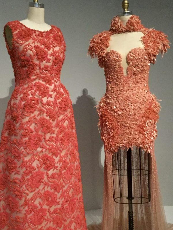 Manus x Machina - Givenchy evening dress, 1963 haute couture, hand sewn red-orange cotton Mechlin-type lace, hand-embroidered with red-orange glass beads, tinsel and pieces of coral