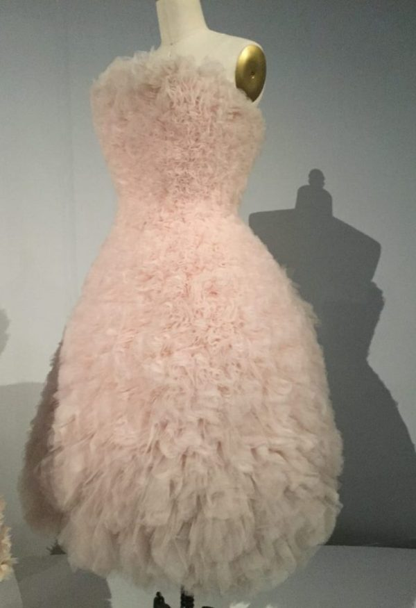 "Manus x Machina - ""Duck dress"" - spring/summer 2000, pret-a-porter, Hussein Chalayan - machine-sewn pink polyester tulle, hand-gathered and sculpted, machine-stitched to pink cotton twill"