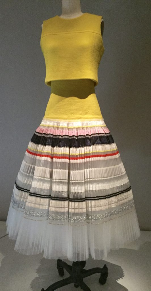 Manus x Machina - House of Dior - Rafe Simons - spring/summer 2015 ensemble - haute couture - hand-pleated, machine sewn white silk organdy hand-embroidered with silk grosgrain ribbon; yellow wool silk crepe