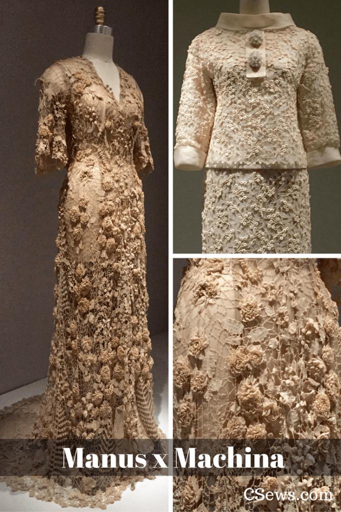 Manus x Machina - Irish wedding gown (ca. 1870), Saint Laurent haute couture suit, 1963