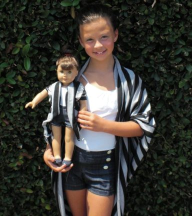 Bonjour Teaspoon sewing pattern - Ava Lounge Jacket - doll and girl versions