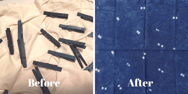 DIY Shibori - indigo dyeing - clothespins to resist dye