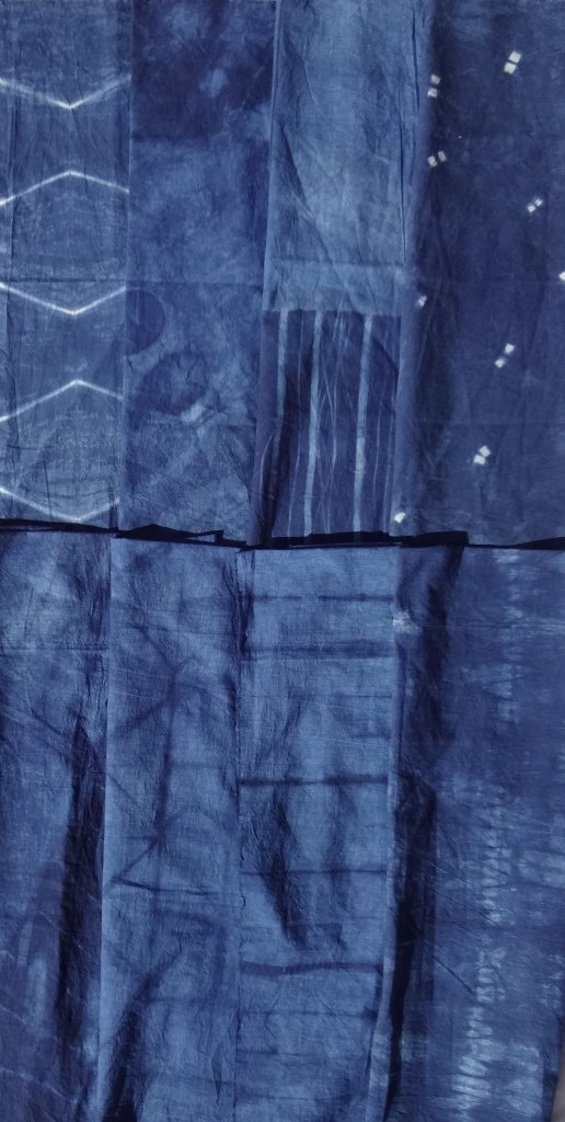 Shibori skirt fabric - indigo dyed- 8 designs
