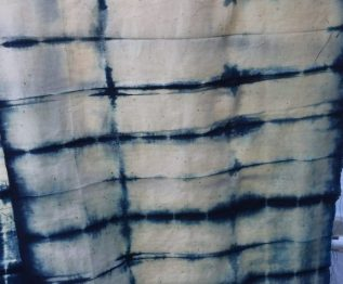 DIY Shibori - indigo dyed fabric - pleated
