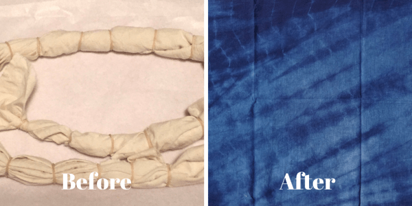 DIY Shibori - indigo dyeingn - pleating and binding with rubber bands