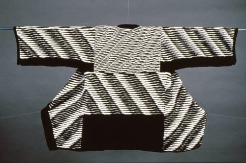 One-of-a-kind art coat - machine knitted fabric - designed by Olgalyn Jolly of O! Jolly!