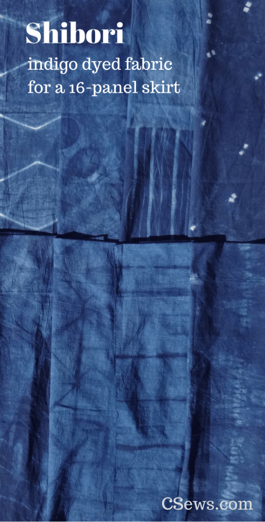 Shibori - indigo dyed fabric for a 16-panel skirt