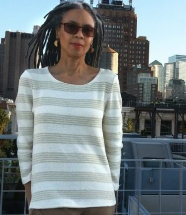 Olgalyn Jolly of O! Jolly! Crafting Fashion wearing her color-grown cotton stripe jersey