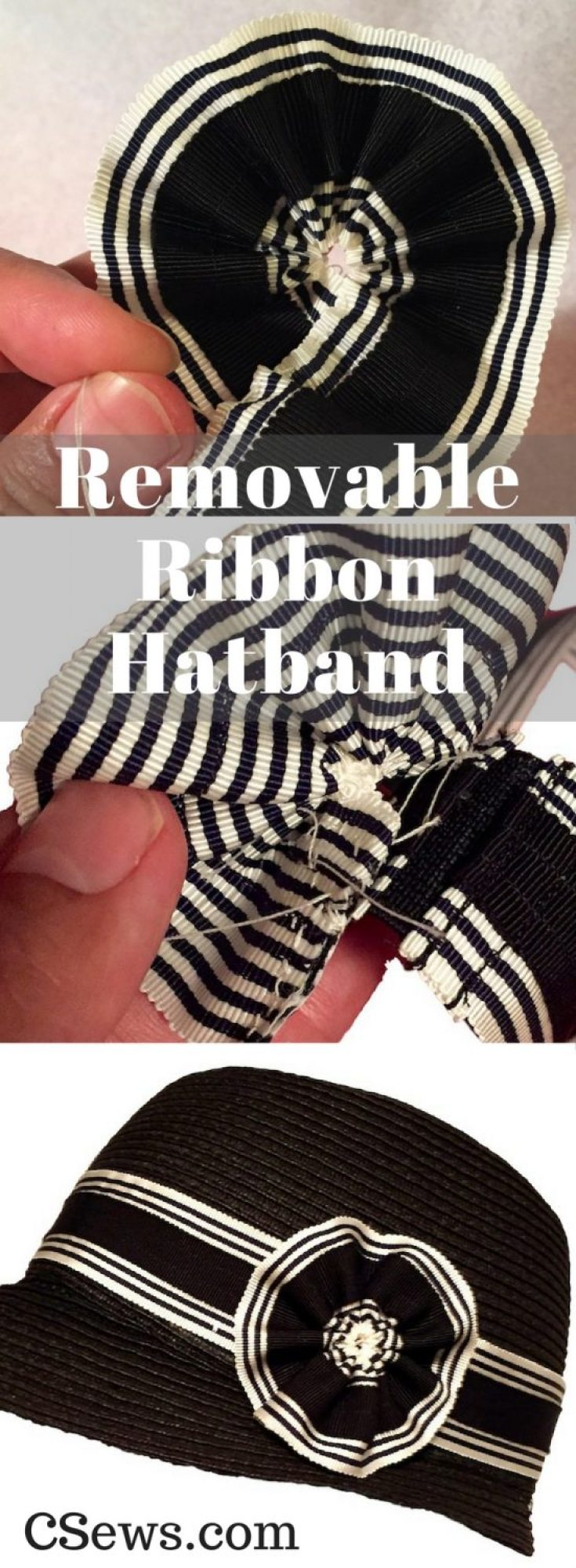How to make a removeable ribbon hat band - Petersham ribbon, elastic