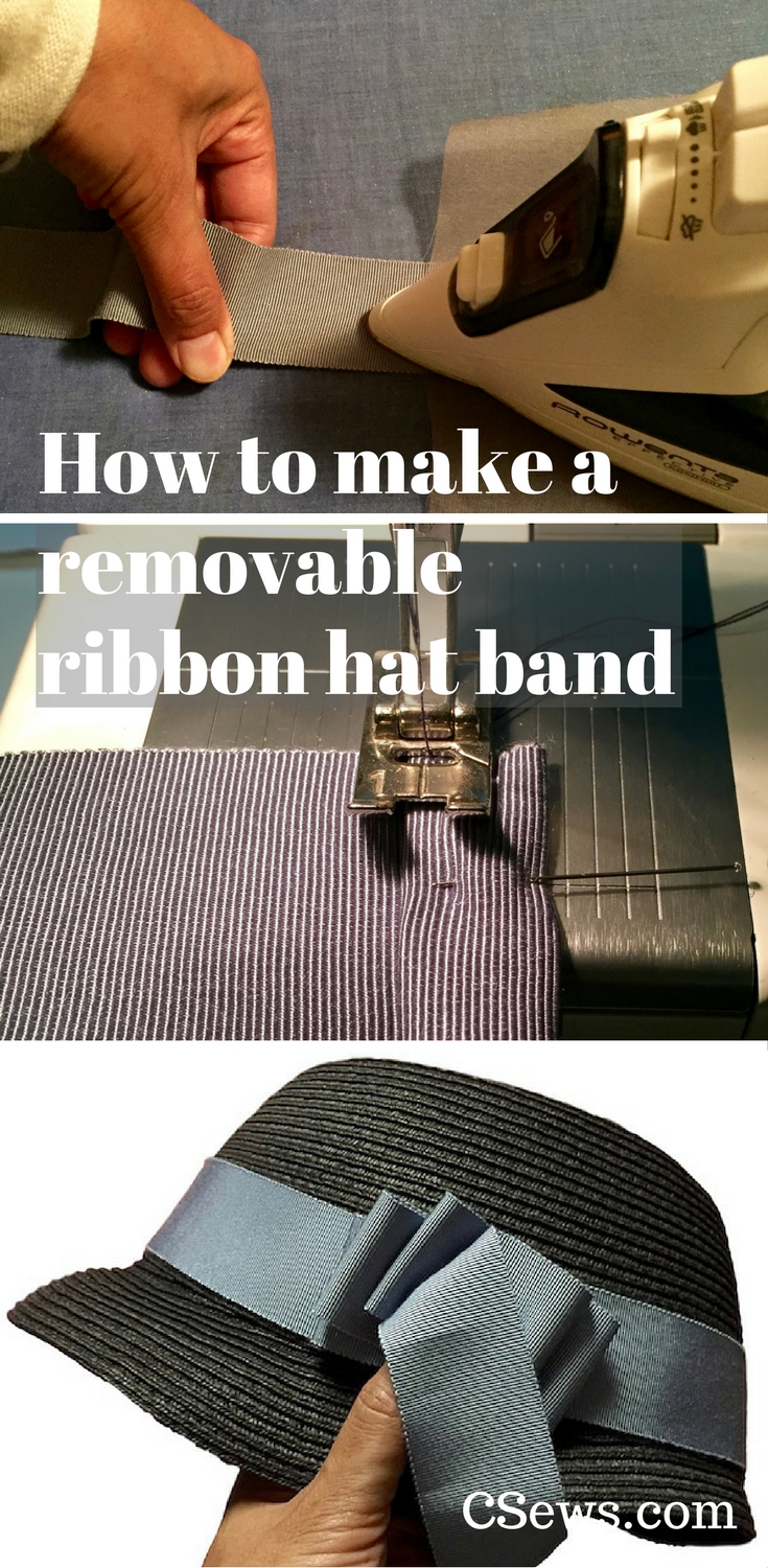 How to make a removable ribbon hat band - tutorial, Petersham ribbon, millinery, hats