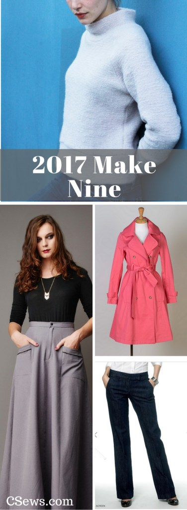 2017 Make Nine - Sew House Seven Toaster Sweater, Deer & Doe Fumeterre Skirt, Sewaholic Robson trench coat, Butterick 5682 trouser jeans