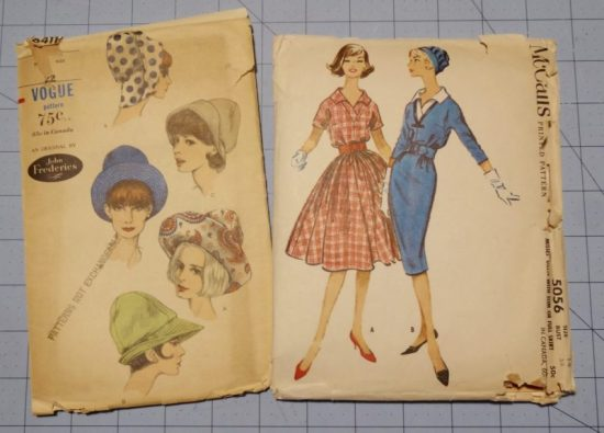 Vintage Vogue 6411 hat sewing pattern, vintage McCalls 5056 sewing pattern
