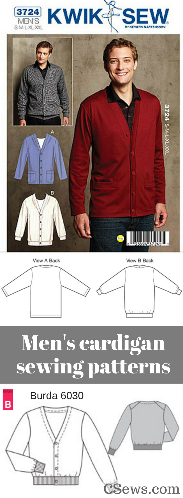 Men's cardigans patterns - Kwik Sew 3724 and Burda 6030 | menswear | sewing patterns