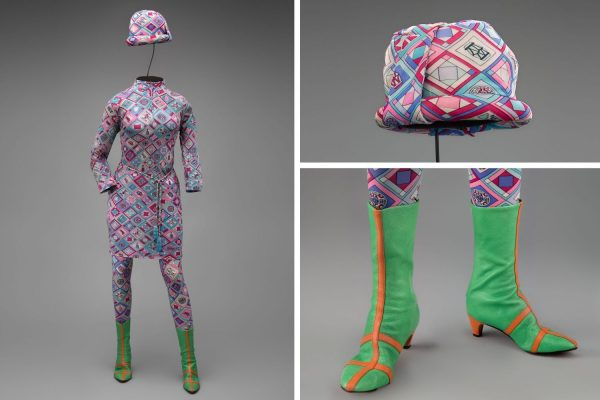 Braniff International Airways hostess uniform by Emilio Pucci 1966 Collection of SFO Museum Gift of Sandra C. A. Thomas in memory of Anne Karin Walker Photo credit: SFO Museum [Fashion in Flight exhibit at SFO]