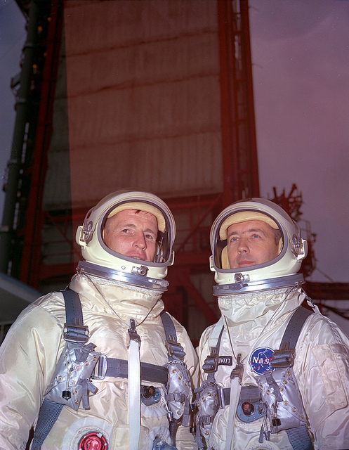 Gemini-Titan 4 (GT-4) Prime flight crew, Ed White and Jim McDivitt, at Pad 19. May 29, 1966