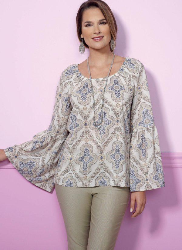 Butterick B6455 - sewing pattern - Misses' Gathered, Raglan Sleeve Tops
