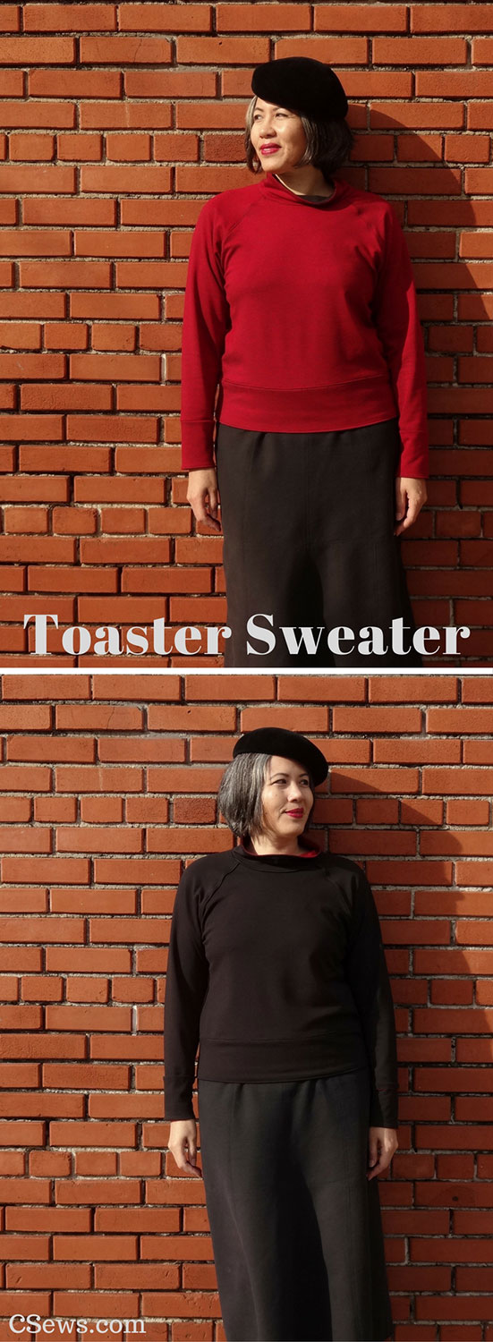 A reversible Toaster Sweater made with double-sided ponte knit fabric - Sew House Seven sewing pattern