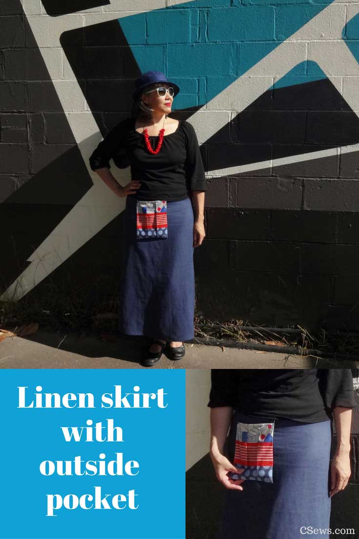 Linen skirt with outside pocket detail in Echino fabric - self-drafted A-line skirt - CSews.com