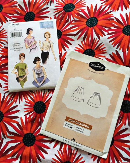 V9187 Vogue reissued 1960 sewing pattern and Chardon skirt by Deer & Doe - CSews