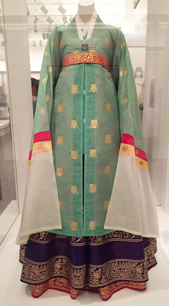 Couture Korea - women's ceremonial robe from Jeosan dynasty - recreation at Asian Art Museum fashion exhibit